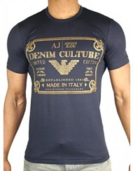 Armani-Jeans-T-Shirt-Homme-manches-courtes-R6H06NQ-Navy-Bleu-Or-Denim-Culture-Limited-Edition-Collector-Taille-S-M-L-XL-XXL-0