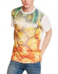 Desigual-Happiness-Inside-T-shirt-Empire-Imprim-Col-ras-du-cou-Manches-courtes-Homme-0