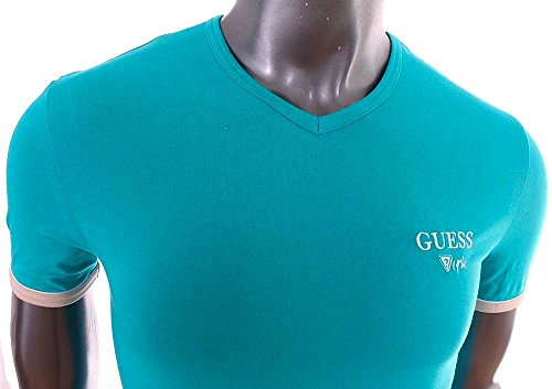 Guess-T-Shirt-homme-Slim-Fit-stretch-turquoise-col-V-UG7U2A-0-0