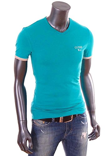 Guess-T-Shirt-homme-Slim-Fit-stretch-turquoise-col-V-UG7U2A-0-1