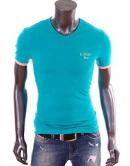 Guess-T-Shirt-homme-Slim-Fit-stretch-turquoise-col-V-UG7U2A-0