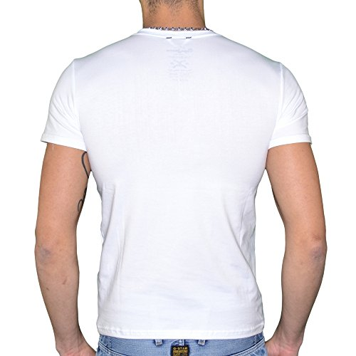 Pepe-Jeans-T-Shirt-Manches-Courtes-Homme-Original-V-Flock-Stretch-Blanc-0-0