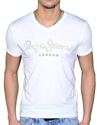 Pepe-Jeans-T-Shirt-Manches-Courtes-Homme-Original-V-Flock-Stretch-Blanc-0